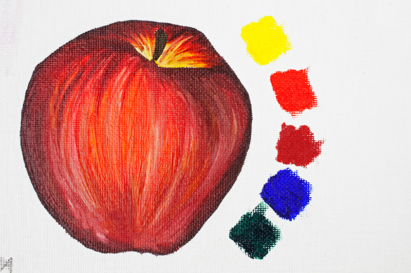 Apple painted using Winsor & Newton Artisan Water Mixable Oil Paint