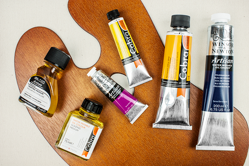 A selection of water mixable oil paints and mediums