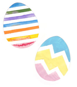 Easter egg painting with masking tape