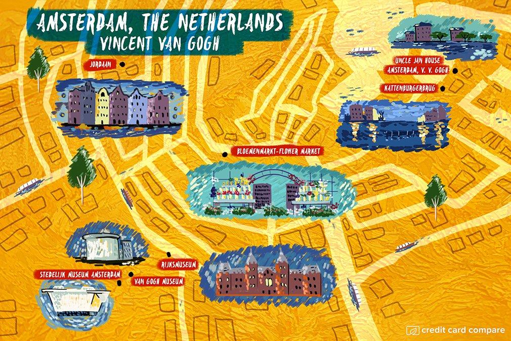 Vincent van Gogh amsterdam map