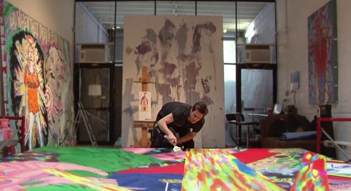 jim carrey painting in studio