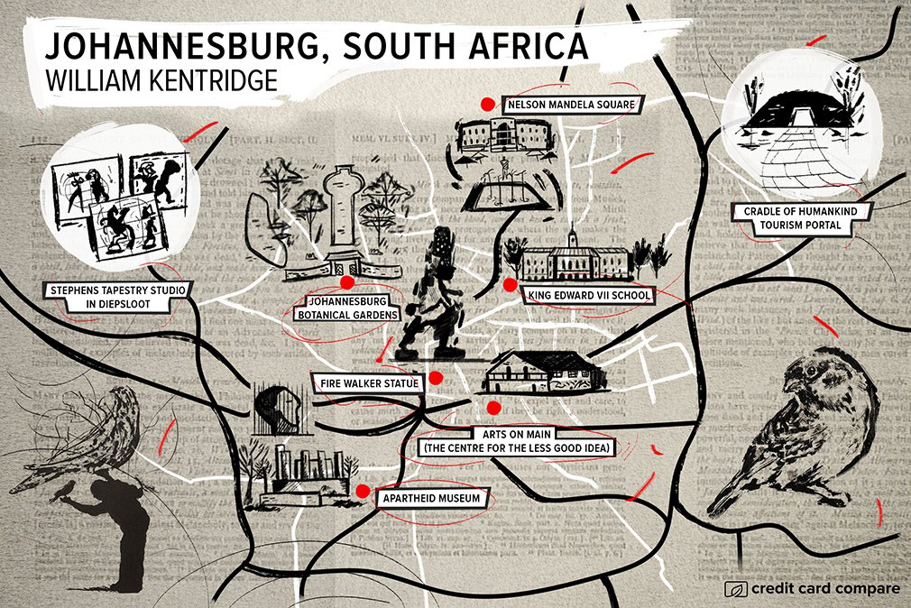 William Kentridge johannesburg map