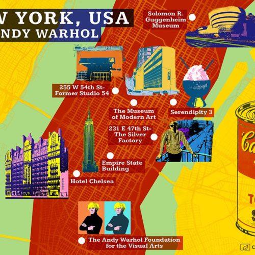 andy warhol new york map