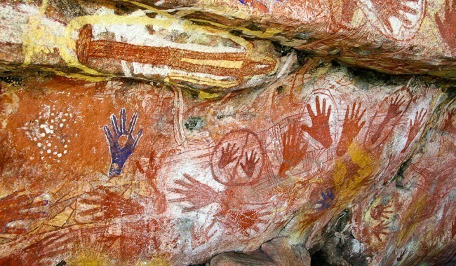 Aboriginal Art hands on walls