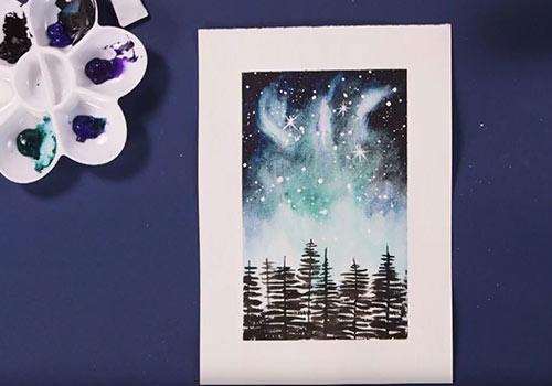 Paint a watercolour galaxy