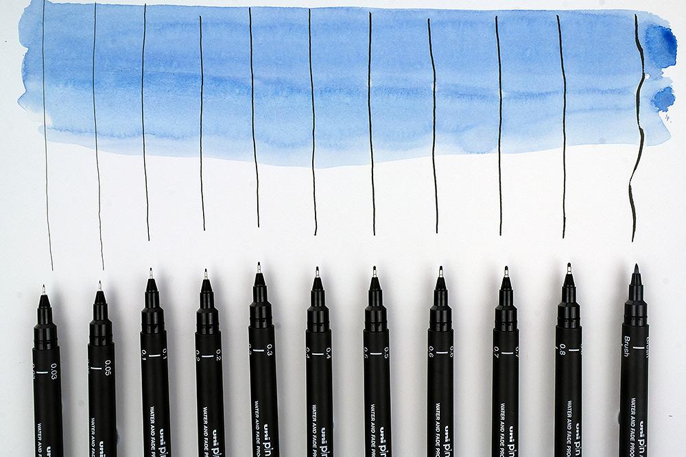 Uni Pin Fine Line Pens from Uni-ball watercolour test