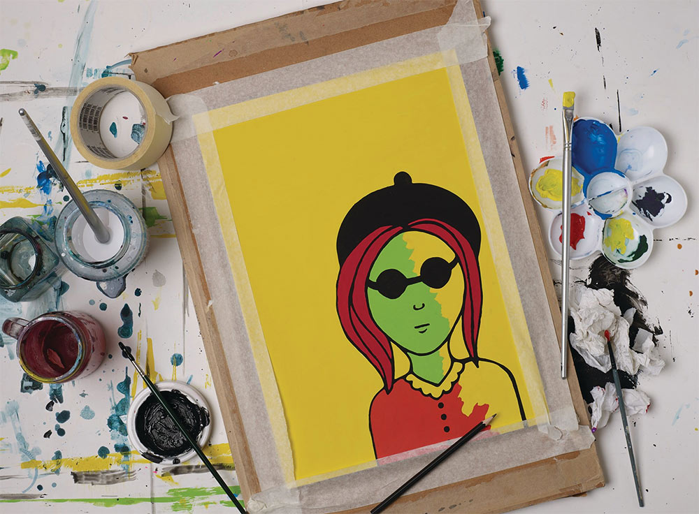 Liquitex Gouache being used in painting with solid yellow background
