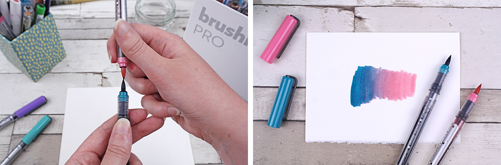 Karin Brushmarker PRO Pens Mixing Colour by touching tips