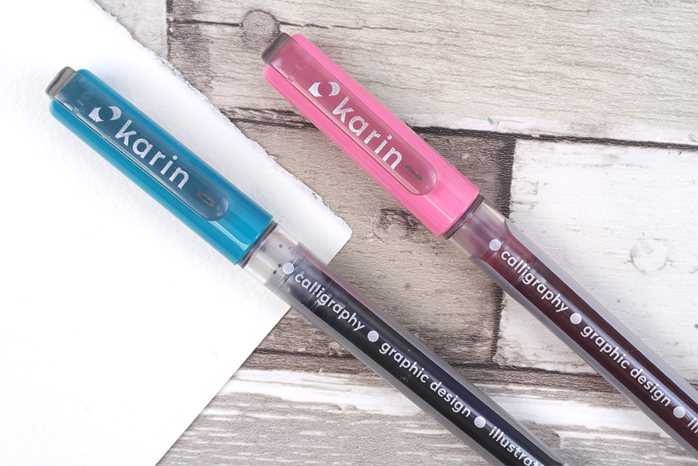 Karin Brushmarker PRO Pens with clear barrel and colour matched cap