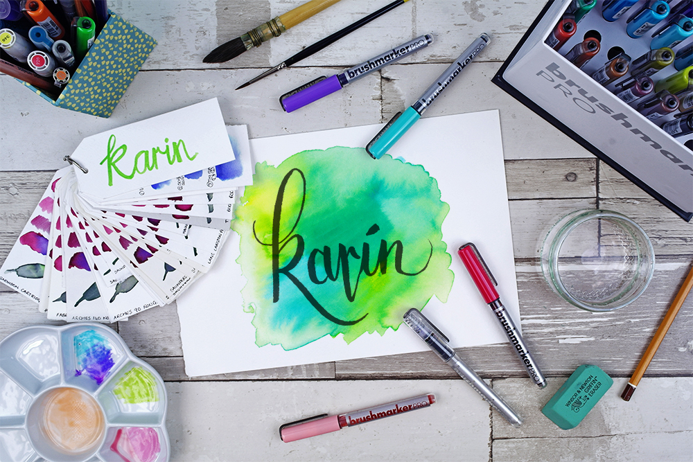Karin Brushmarker PRO brush pen lettering with watercolour effects