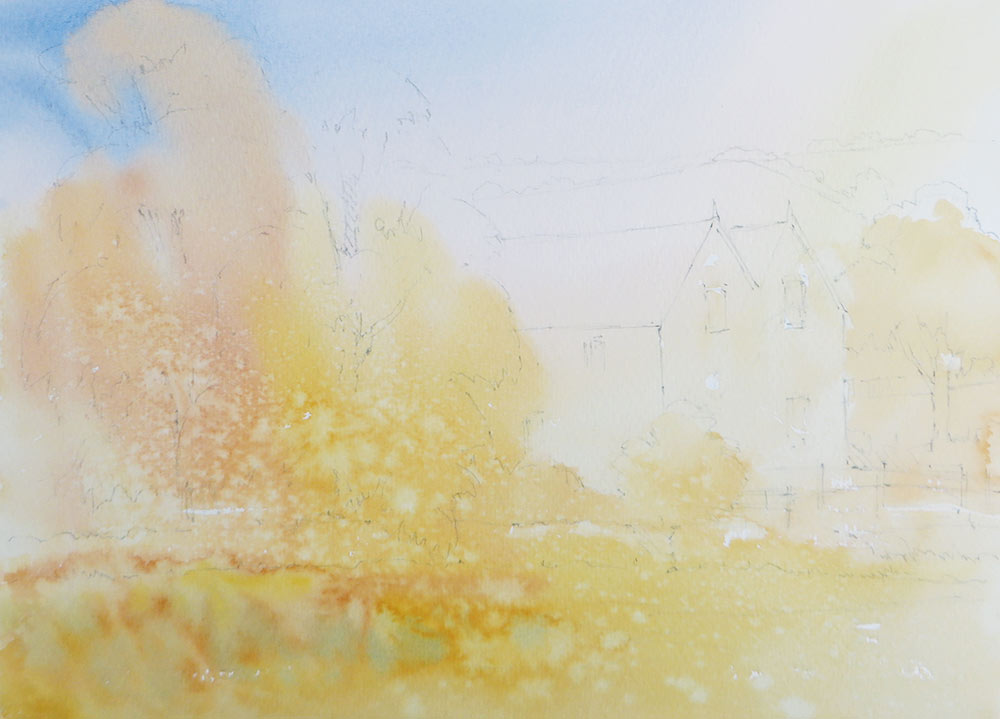 Once I had planned my composition with a tonal sketch, I lightly drew the main elements onto the watercolour paper.