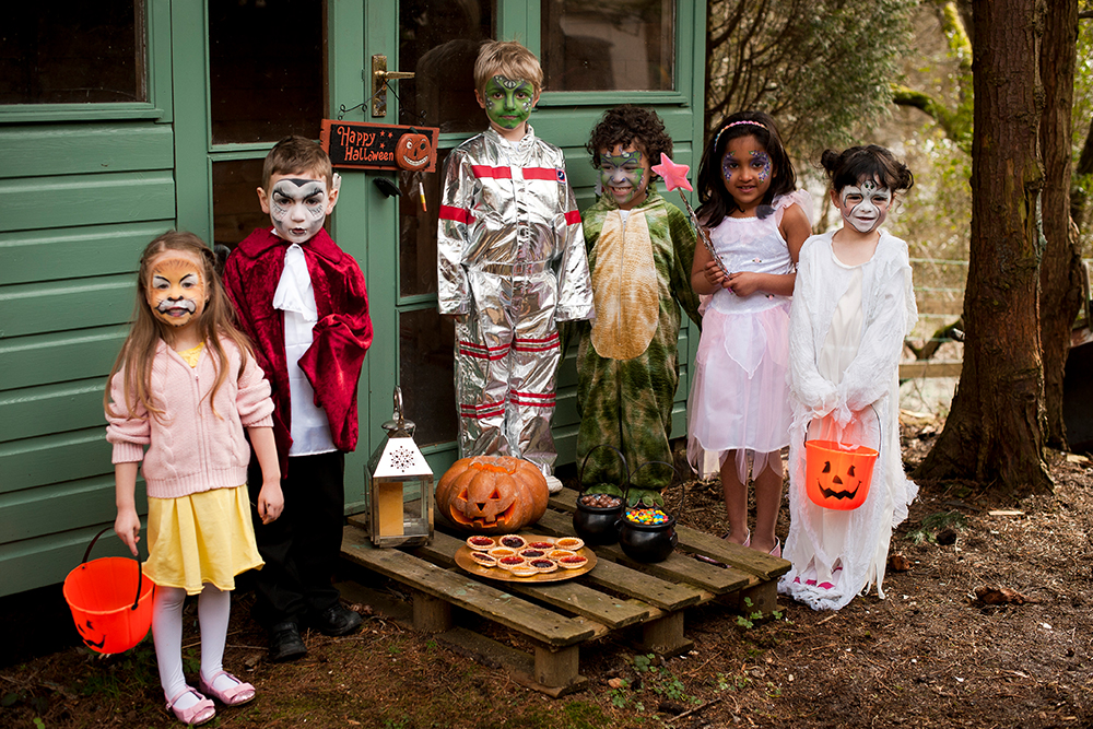 Paint a Smile this Halloween with Snazaroo Face Paints - Group of children in Halloween costumes