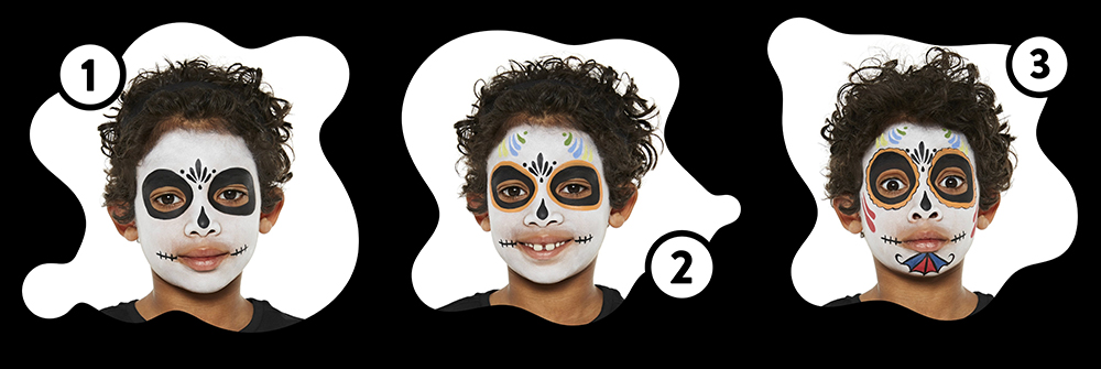 Snazaroo Sugar Skull Children's Face Paint Design Instructions