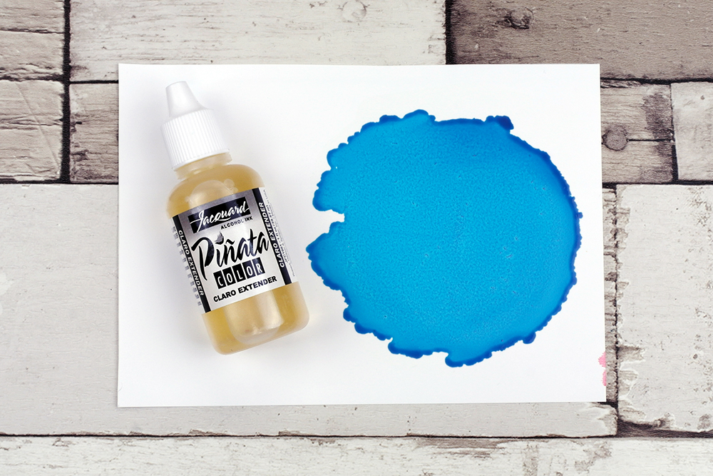 Piñata Alcohol Ink Baja Blue diluted with Piñata Alcohol Ink Claro Extender
