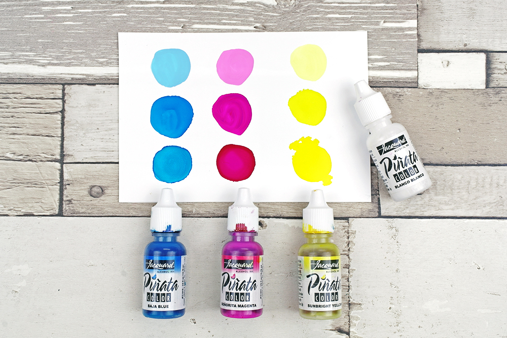 Pinata Alcohol Ink Pastel Shades with Blanco Blanco White Ink