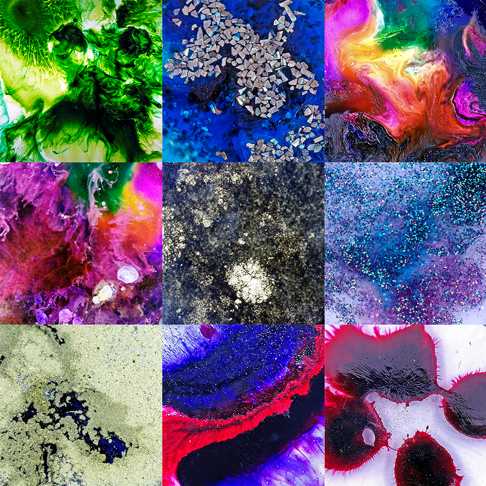 Examples of Pinata Alcohol Ink used in Epoxy Resin