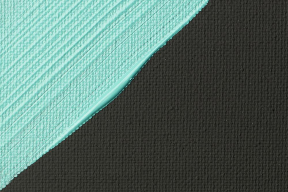Liquitex Turquoise Acrylic Paint stroke on Liquitex Professional Acrylic Black Gesso