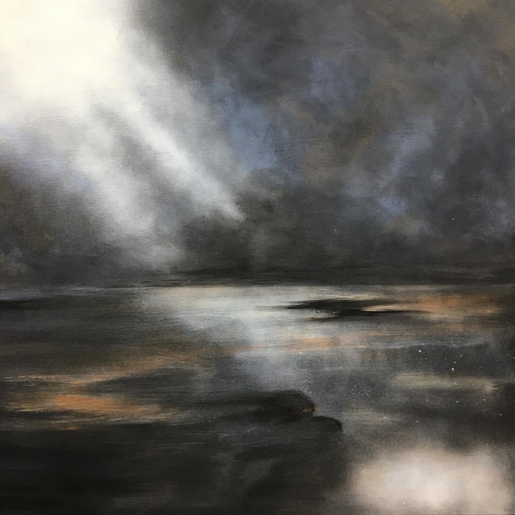 'Moody Skies' Black Gesso & Acrylic on canvas by Lizzie Crawford