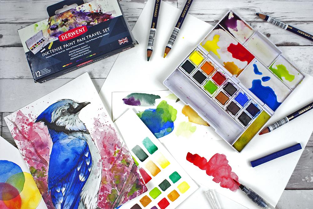 Inktense paint pan travel set, inktense pencils, blocks and illustrations