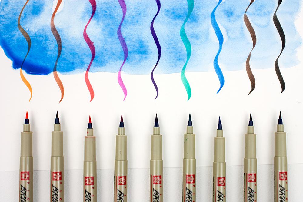 Sakura Pigma Brush Pens with Watercolour Wash