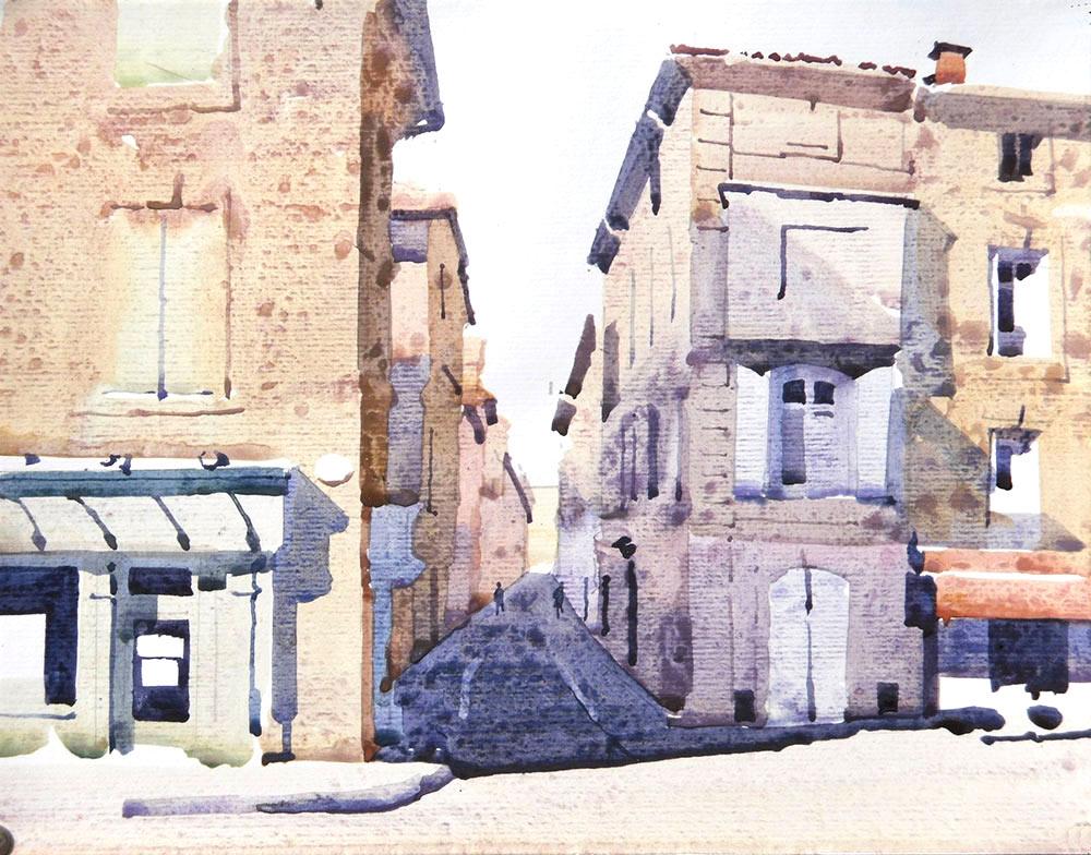 Street corner in Pézenas Complete Watercolour Painting