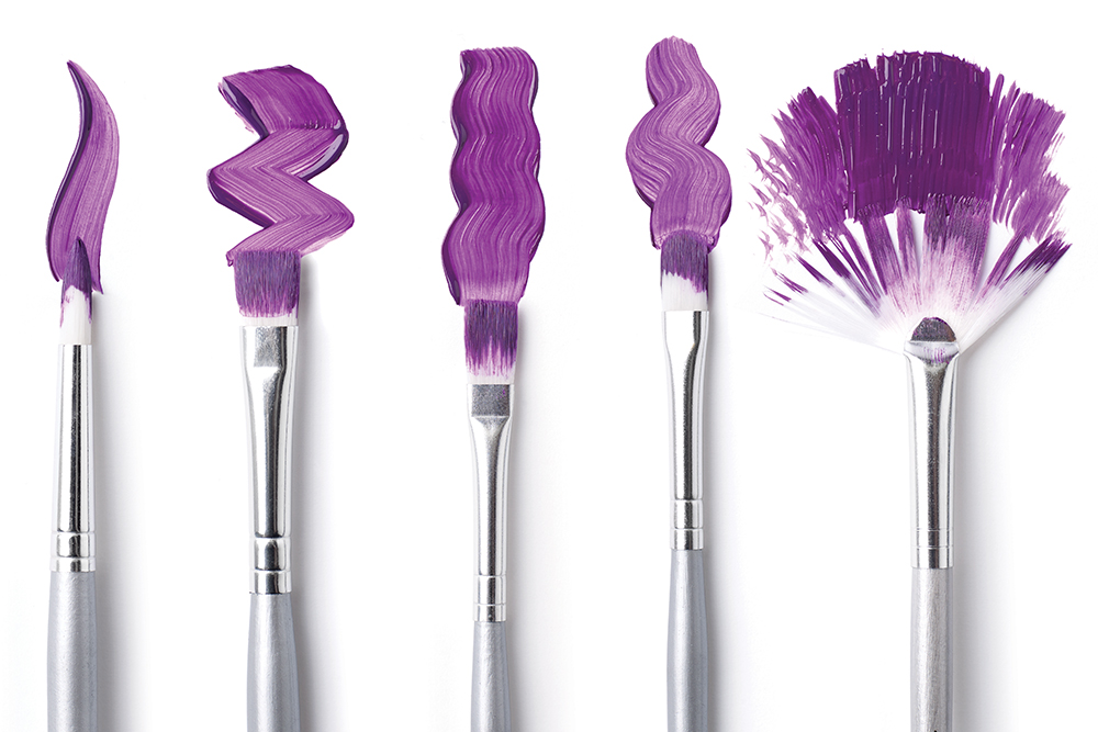 A selection of Artists' Acrylic Paint Brush shapes