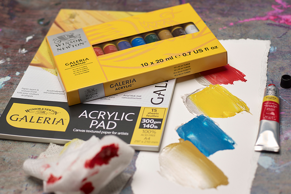 Galeria acrylic paint set and Galeria acrylic painting paper pad