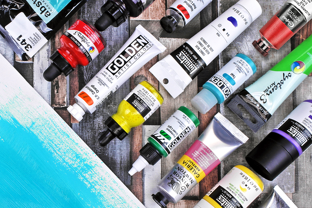 A selection of artists acrylic paints from Winsor & Newton, Liquitex, Golden, Daler Rowney and more