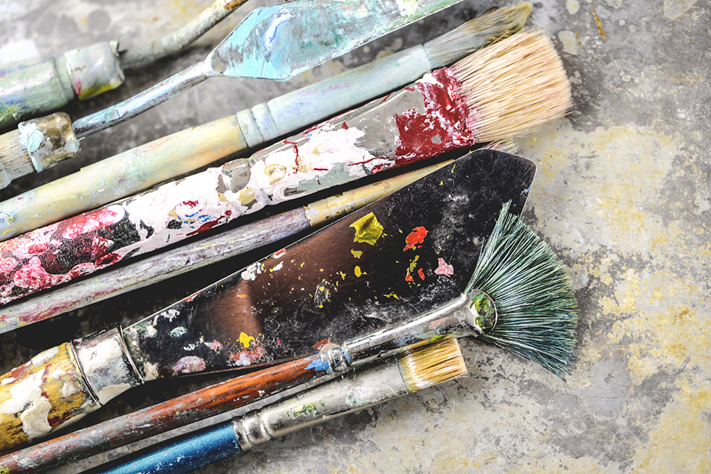 A selection of acrylic painting tools