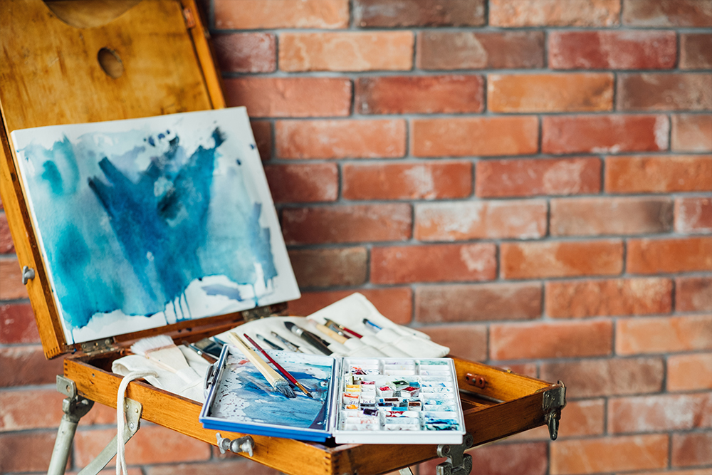 Abstract watercolour wash painting on box easel