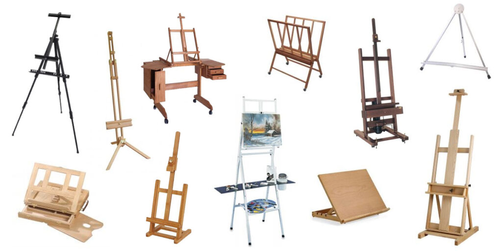 A selection of artists easels