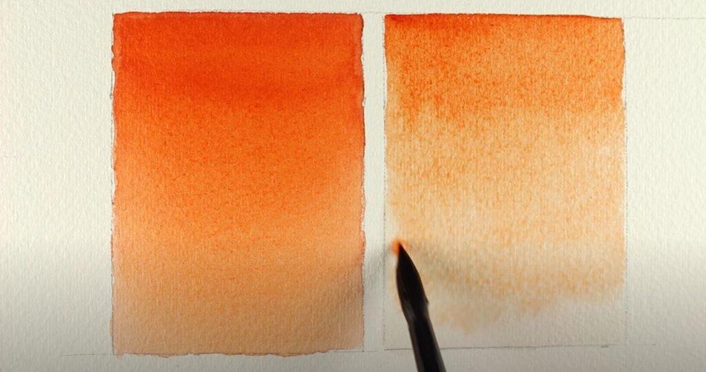 orange graded wash technique