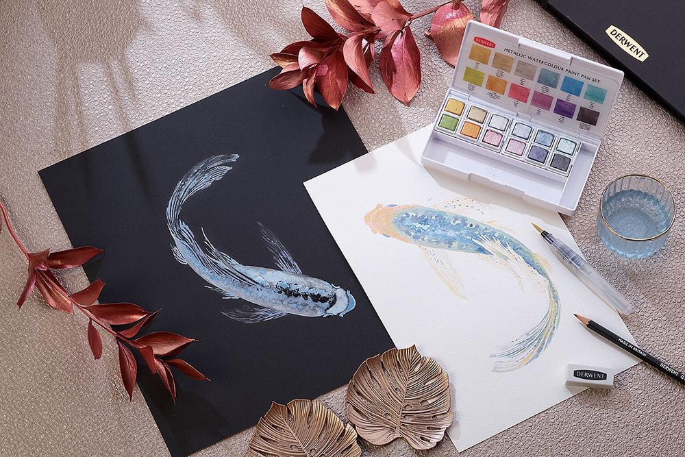 Derwent Metallic Paint 12 Pan Set with Derwent Accessories and metallic Koi Carp Fish Illustration