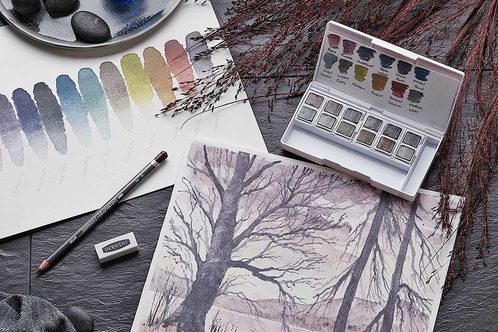 Derwent Graphitint Paint Pan Travel Palette with accessories and landscape painting