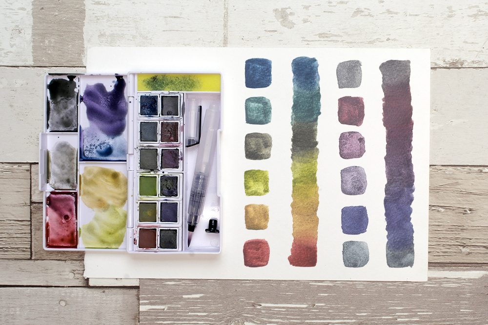 Colour swatches and colour mixes from the Derwent Graphitint Paint Pan Travel Set