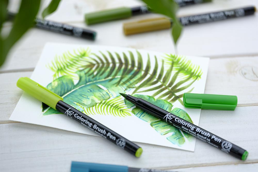 Illustration Koi coloring brush pens with botanical illustration