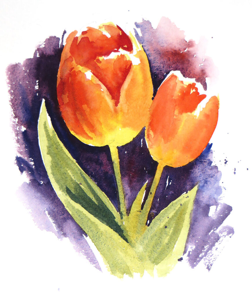 Bright Orangey-red Tulips painted using Lemon Yellow and Vermillion.