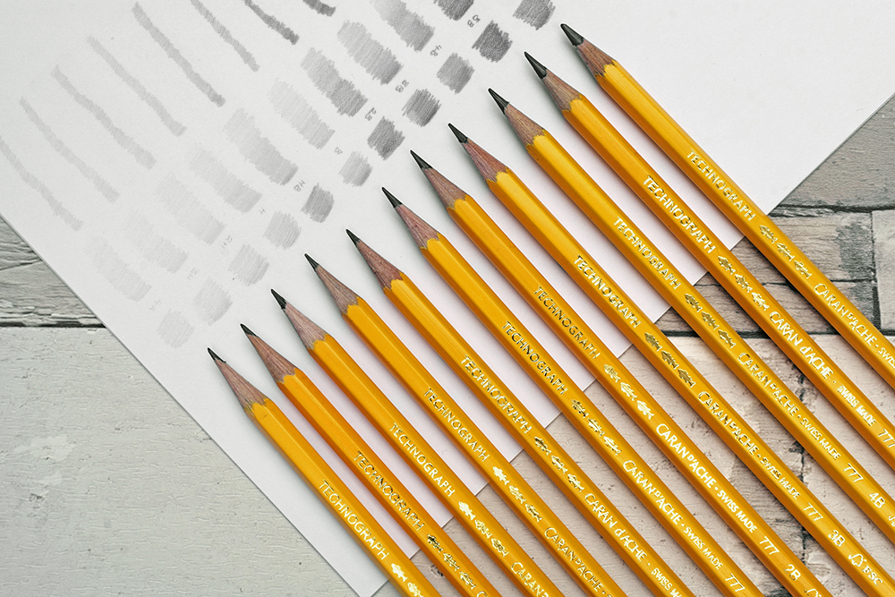 The full range of Caran d'Ache Technograph Graphite drawing and sketching pencils with swatches