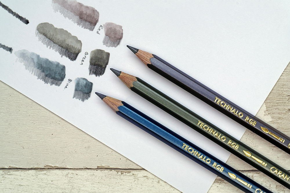 The full range of Caran d'Ache Technalo RGB Water Soluble Graphite drawing and sketching pencils with swatches