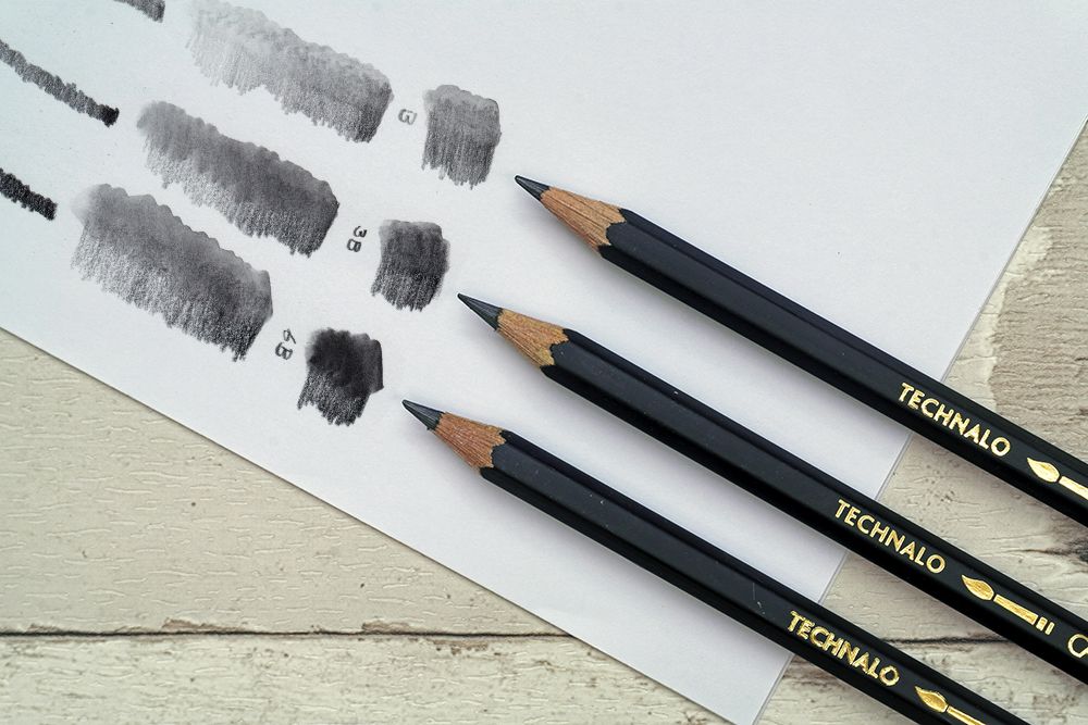 The full range of Caran d'Ache Technalo Water Soluble Graphite drawing and sketching pencils with swatches