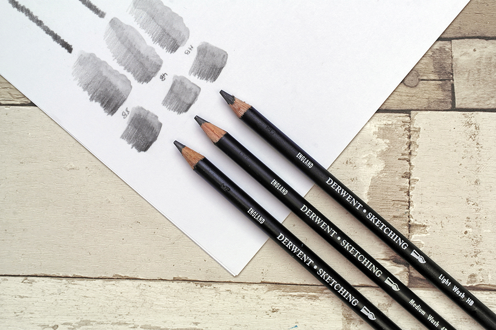 The full range of Derwent Water Soluble Sketching Graphite drawing and sketching pencils with swatches