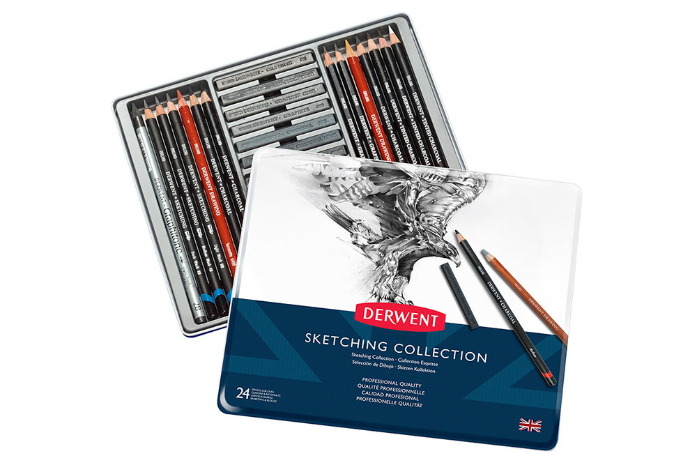 The Derwent Sketching Collection tin of 24 drawing and sketching tools.