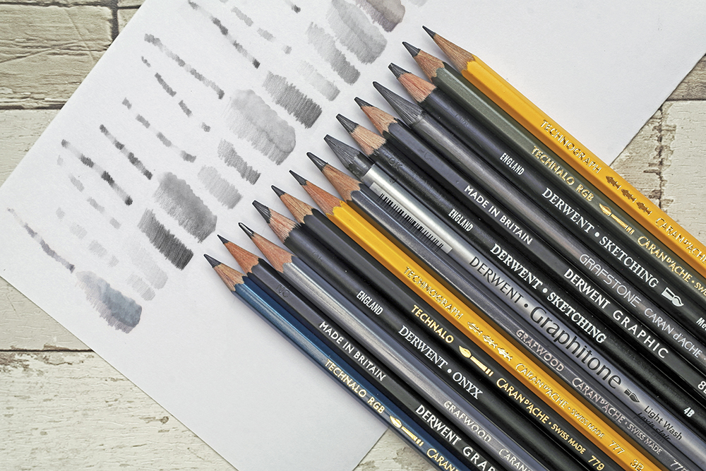 A selection of artists' graphite drawing and sketching pencils from Derwent and Caran d'Ache