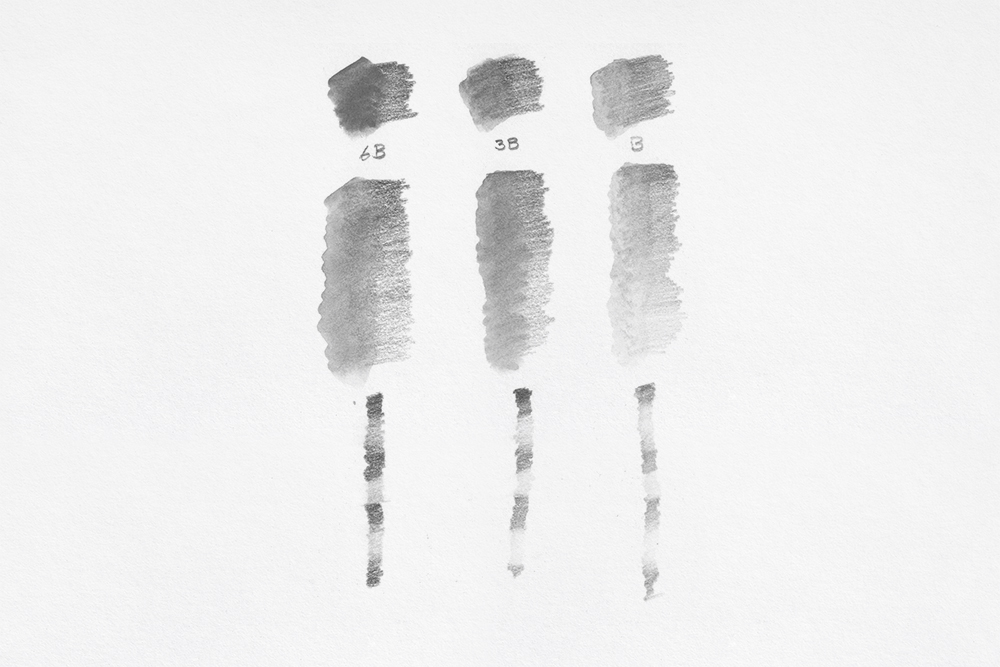 Swatches of Caran d'Ache Technalo Water Soluble Graphite drawing and sketching pencils from 6B to B