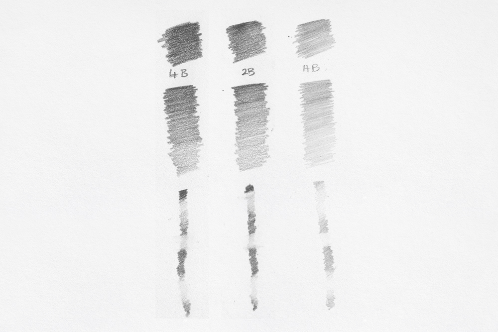 Swatches of Derwent Sketching Graphite drawing and sketching pencils from 4B to HB