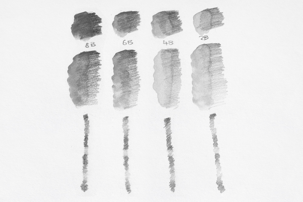 Swatches of Derwent Graphitone Water Soluble Graphite drawing and sketching pencils from 8B to 2B