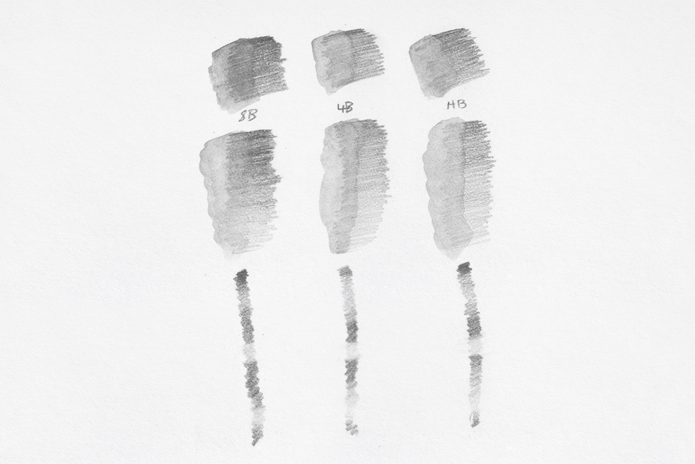 Swatches of Derwent Sketc hing Water Soluble Graphite drawing pencils from 8B to HB