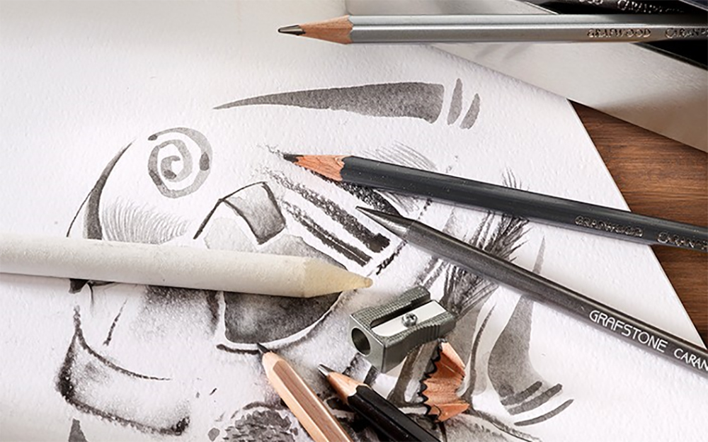A selection of drawing and sketching tools from the Caran d'Ache Graphite Line product range.