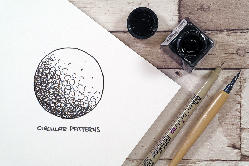 Circular Patterns technique with Sakura micron fine liner pen