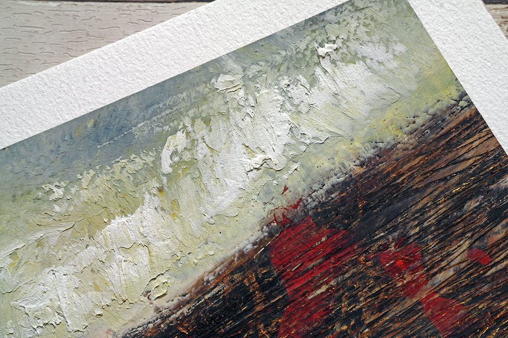 Cold Wax and Oil Paint Painting by Liz Griffiths showing a thick application of wax